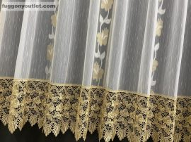 Csipkes kesz függöny tulipan 30 cm barna csipke féher arany színű 300 cm szeles 180 cm magas