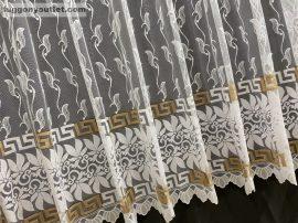 függöny keszre vartt görög mintas feher alapon barna színű 300cm szeles 160 cm magas