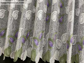 Kesz függöny féheralap zöld lila szinű rozsaslevel 300 cm szeles 160cm magas