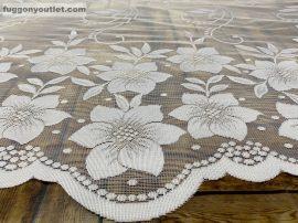 Vitrázsfüggöny viragos fehér színű 70 cm magas