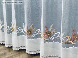 Készre vartt függöny zsakard búzavirág fehér barna   színű 300cm szeles 160cm magas
