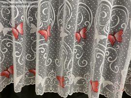 Készre vart függöny pillangos fehéralapon piros színű 300cm szeles 250cm magas