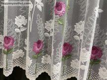 Készre vartt függöny 300cm szeles 250cm magas rózsaszál fehér pink színű