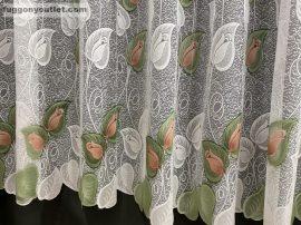 Kesz függöny rozsalevel fehéralap barna zöld színű 500 cm szeles 250 cm magas