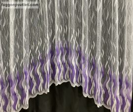 Készre vartt függöny zsakard lang panaromas fehér lila színű 300cm szeles 160cm magas