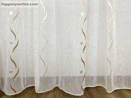Készre vartt függöny 300cm szeles 180cm magas Lenesvoile fehér alapon barna  színű