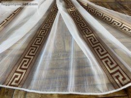 Készre vartt függöny 300cm szeles 260cm magas görögmintas fehér barna színű
