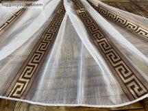 Készre vartt függöny 300cm szeles 160cm magas Lenesvoile görögmintas fehér barna színű