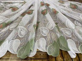 Kesz függöny féheralap zöld mayva szinű rozsaslevel 300 cm szeles 155cm magas
