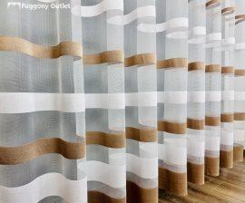Készre vartt függöny csikos féher barna színű 300cm szeles 250cm magas