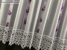 Csipkes kesz függöny Harangvirág  lila színű300 cm szeles 180 cm magas