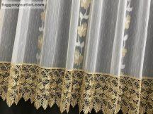 Csipkes kesz függöny tulipan  barna csipke féher arany színű 300 cm szeles 180 cm magas