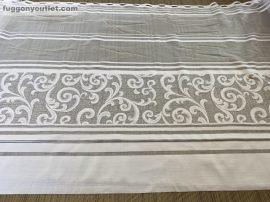 Vitrázsfüggöny folyóméter virágos fehér színű 80 cm magas