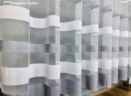 Készre vartt függöny csikos féher szürke színű 300cm szeles 180cm magas