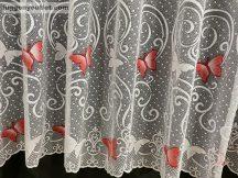 Függöny készre vart pillangos féher piros színű 400 cm szeles 250 cm magas