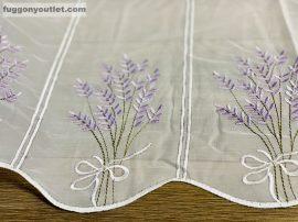 Vitrázs függöny méterben hímzett voál levendula fehér lila színű 45 cm magas