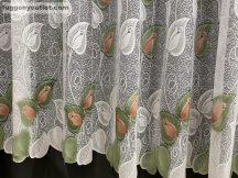Kesz függöny rozsalevel fehéralap barna zöld színű 500 cm szeles 240cm magas