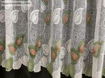 Függöny készre vart rozsalevel fehéralapon barna zöld színű 400 cm szeles 250 cm magas