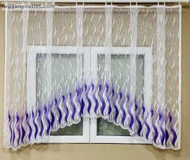 Készre vartt függöny zsakard lang panaromas fehér lila színű 300cm szeles 155cm magas