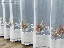 Függöny készre vart buzavirag fehér barna színű 400 cm szeles 180 cm magas
