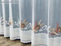 Függöny készre vart buzavirag fehér barna színű 500 cm szeles 180 cm magas