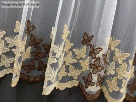 Kesz függöny pillango himzet krem barna színű 300 cm szeles 260 cm magas