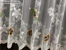Függöny készre vart csillaglevel féher alapon barna színű 400 cm szeles 250 cm magas