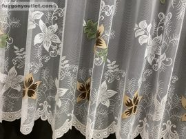 Kesz függöny csillaglevel fehér barna színű 500 cm szeles 250 cm magas