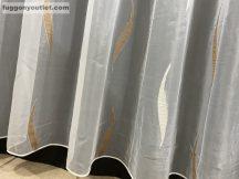függöny készre vart (organza barna) Fehér alapon barna  300cm szeles 260cm magas