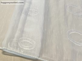 függöny készre vart (lenes voal karikas 3) Fehér alapon fehér 300cm szeles 260cm magas