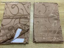 Kész  sötétítő függöny indás selyem  barna színű ( 2 darab =140 cm szeles 180 cm magas )