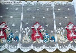 Vitrázs függöny karácsonyi fehér alapon piros szinü 60 cm magas