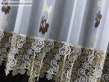 Csipkes kesz függöny tulipan barna csipke féher barna színű 300 cm szeles 180 cm magas