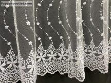 Függöny készre vart himzet szernavirag fehér  színű 500 cm szeles 180 cm magas
