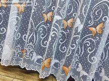 Készre vartt függöny lepke pillangos zsakard feher alapon narancs színű 300cm szeles 250cm magas