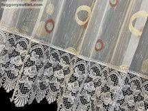 Csipkes kesz függöny (30 cm feher csipke)lennes voal fehèr alapon terra szín 300 cm szeles 175 cm magas