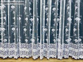 Csipkés kész függöny himzet 2 soros csipkes (fehèr 30 cm csipke )fehér színű 400 cm szeles 250 cm magas