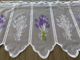 Vitrázs függöny folyóméter levandula fehér lila színű 45 cm magas