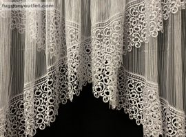 Csipkes kesz függöny macaron x model fehèr színű 350 cm szeles 145cm magas