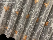 Függöny készre vart pillango fehér alapon narancs színű 500 cm szeles 180 cm magas
