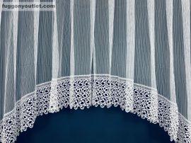 Csipkes kesz függöny 30 cm fehèr csipke-panaromas macaron fehèr színű 400 cm szeles 180 cm magas
