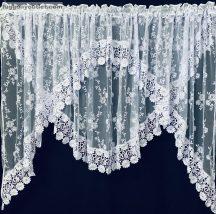 Csipkes kesz függöny panaromas (20 cm fehér csipke) fehèr színű 400 cm szeles 155 cm magas