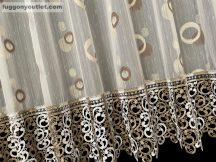 Csipkes kesz függöny karikas barna csipke féher barna színű 300 cm szeles 175 cm magas