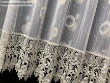 Csipkes kesz függöny (krem csipke )karikas feher arany színű 400 cm szeles 175 cm magas
