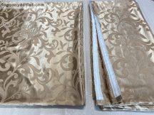 Kész  sötétitő függöny ( 2 db =140 cm szeles 260 cm magas ) selyem vilagos barna színű