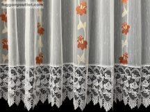 Csipkes kesz függöny Harangvirág (fehér csipke 30 cm) feher alapon terra színű 300 cm széles 175 cm magas