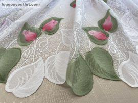 Készre vartt függöny 300cm szeles 250cm magas tulipánlevél fehéralap zöld rozsa  színű