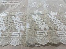 Kesz függöny görögmintas himzet krem arany színű 500 cm szeles 260 cm magas