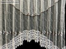 Csipkes kesz függöny panaromas himzet papatya fehèr barna  színű 350 cm szeles 145cm magas