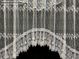 Csipkes kesz függöny panaromas himzet papatya fehèr színű 350 cm szeles 145cm magas